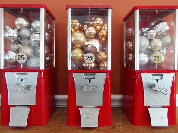 Gumball Machines Full of Christmas Ornaments