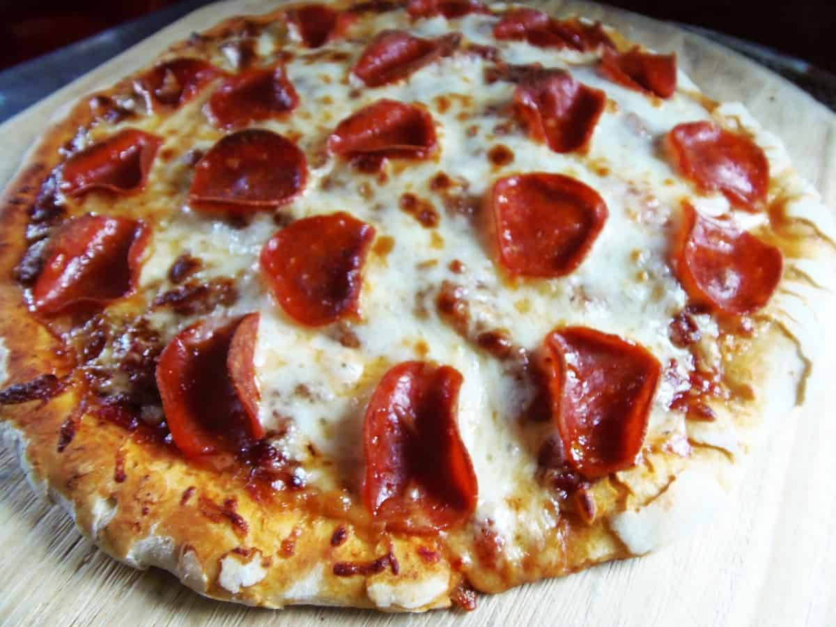 Pepperoni Pizza Made With Homemade Pizza Dough