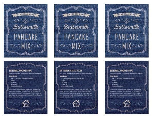 Printable Buttermilk Pancake Mix Labels