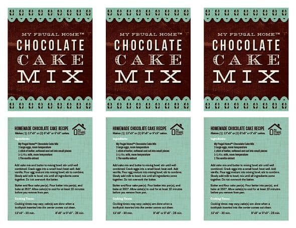 Printable Chocolate Cake Mix Labels