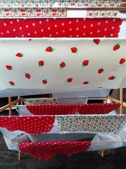 Reusable Food Wraps Drying on Rack
