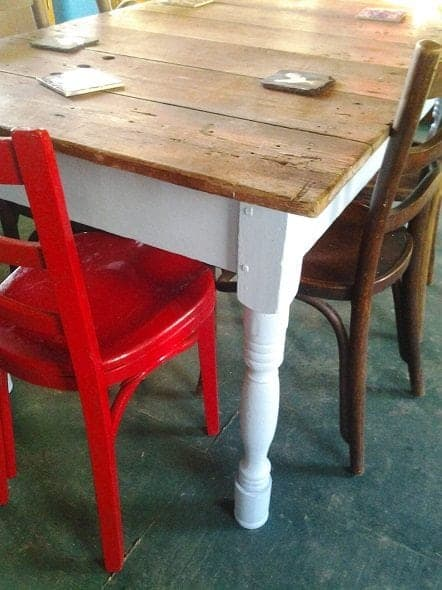 Farm Table with Red Chairs