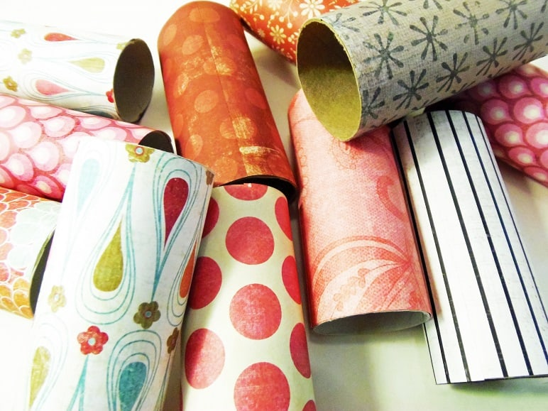 Toilet Paper Rolls Wrapped in Scrapbook Paper