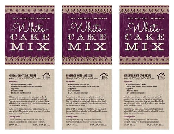 Printable Labels for White Cake Mix