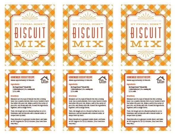 Printable Biscuit Mix Labels