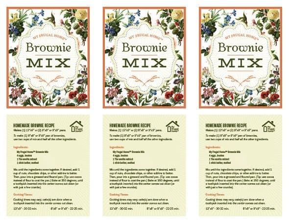 Printable Brownie Mix Labels