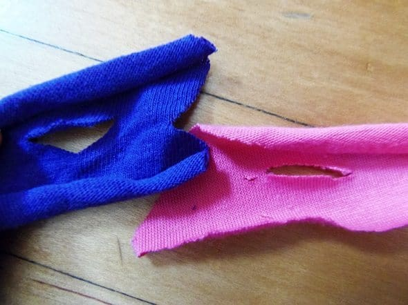 Cut a Slit in Both Pieces of T-Shirt Yarn
