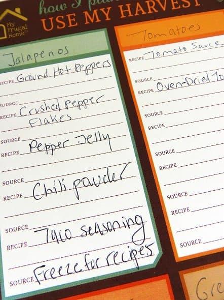 Harvest Recipe Planner