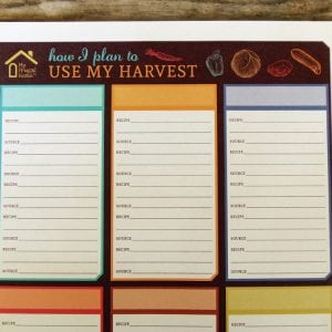Printable Harvest Planner