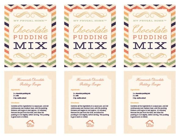 Printable Chocolate Pudding Mix Labels