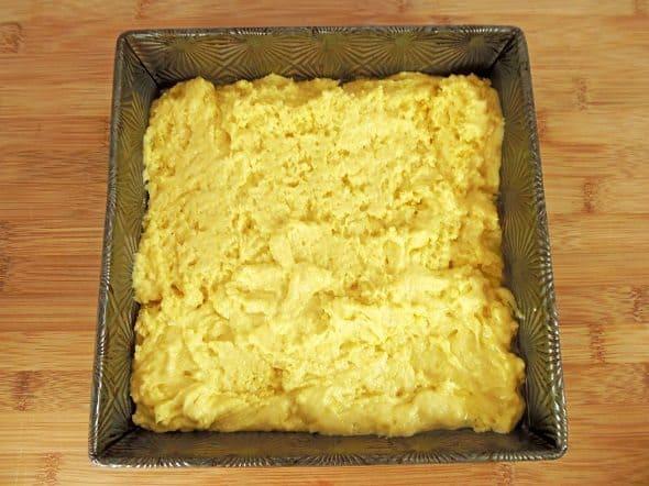 Cornbread Batter in Pan