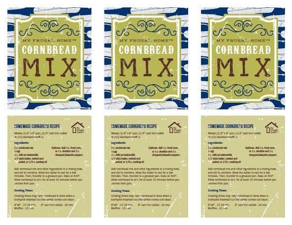 Printable Cornbread Mix Labels