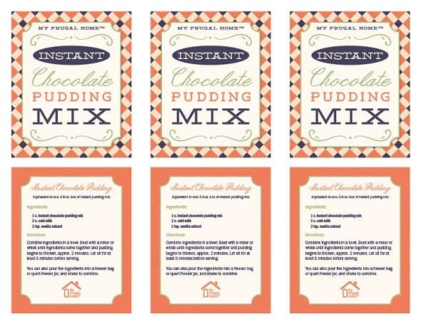 Printable Labels for Instant Chocolate Pudding