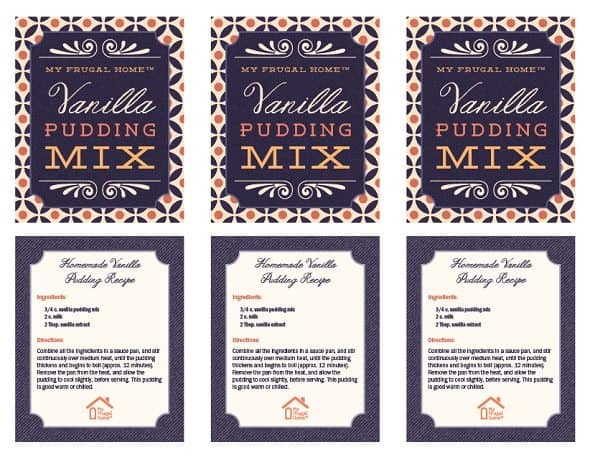 Printable Vanilla Pudding Mix Labels