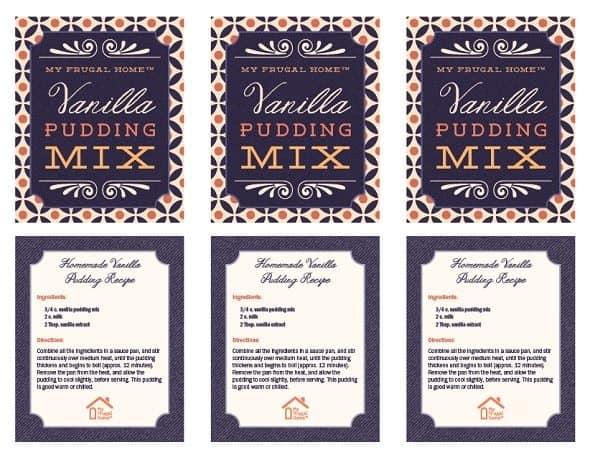 Printable Vanilla Pudding Mix Labels