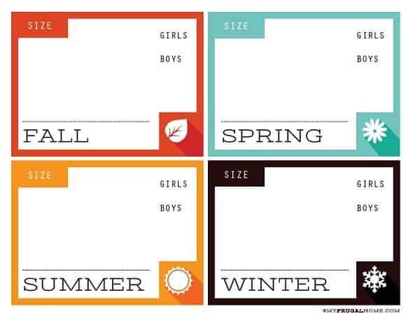 Printable Kids' Clothing Storage Labels