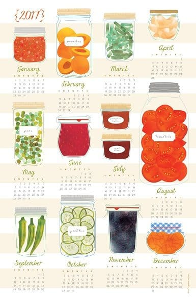2017 Canning Tea Towel Calendar