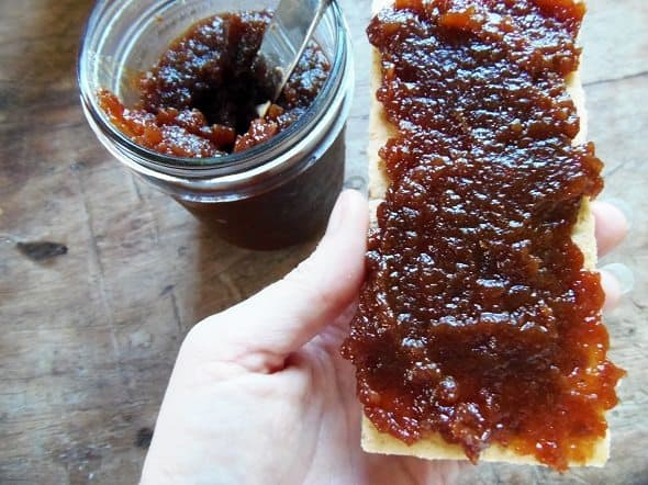 Spread Apple Butter on Graham Cracker