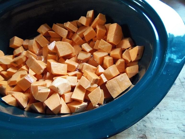 Chopped Sweet Potatoes in a Crockpot