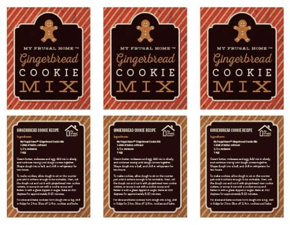 Printable Labels for Gingerbread Cookie Mix