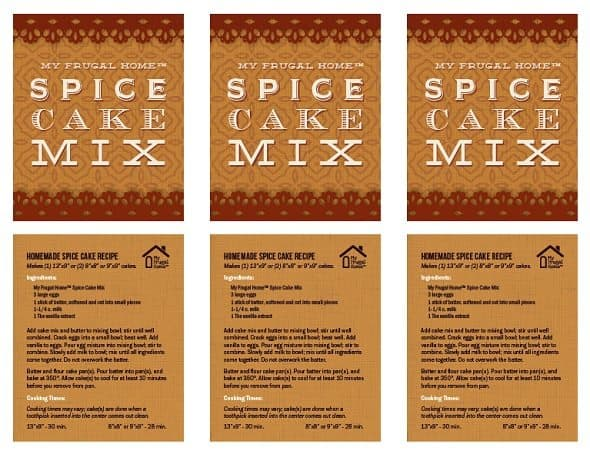 Spice Cake Labels