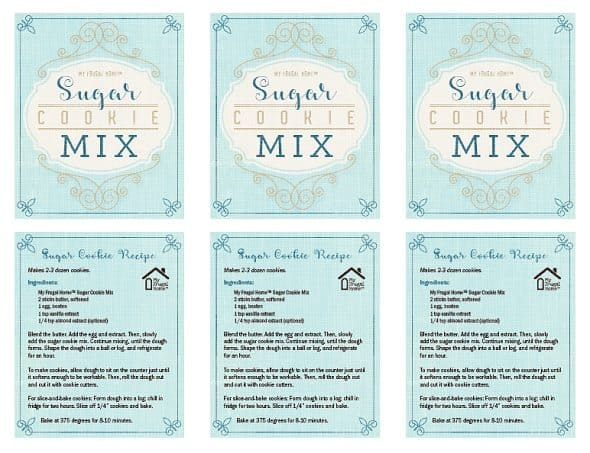 Printable Sugar Cookie Mix Labels