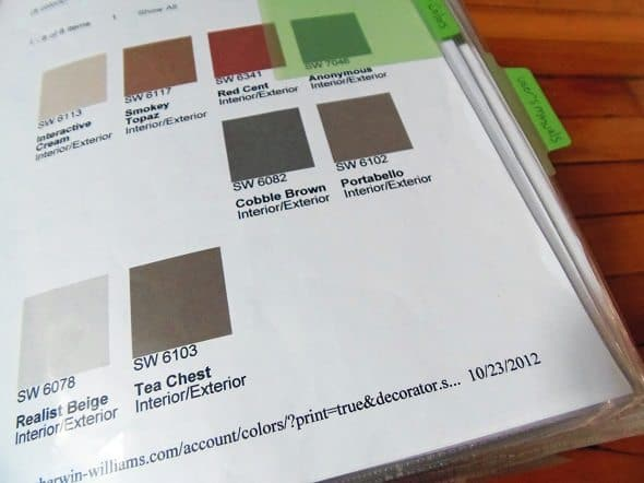 Paint Color Sheet