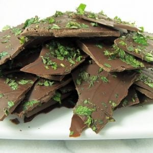 Peppermint Bark with Fresh Mint