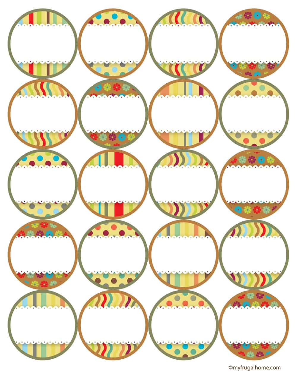 Rainbow Canning Jar Labels - Tops