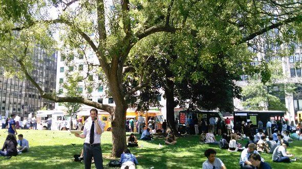 Food Trucks in Farragut Square in Washington D.C.