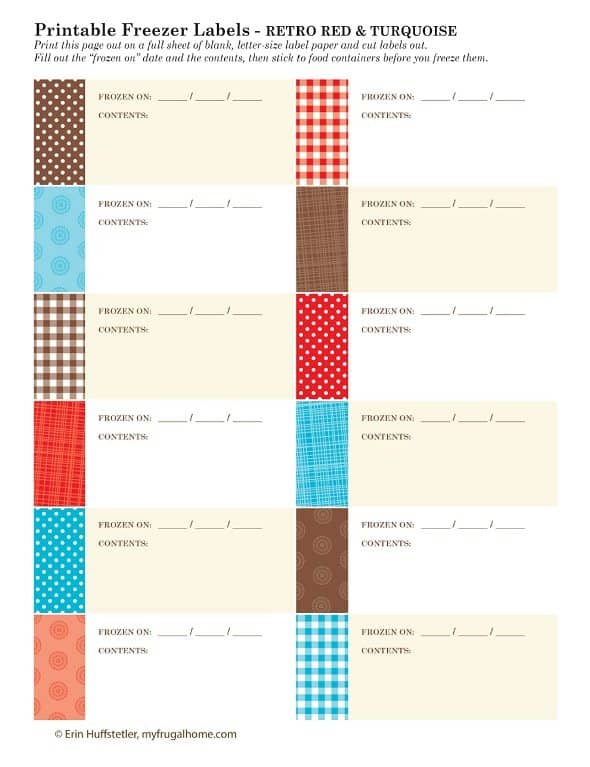 Printable Freezer Labels - Retro Red