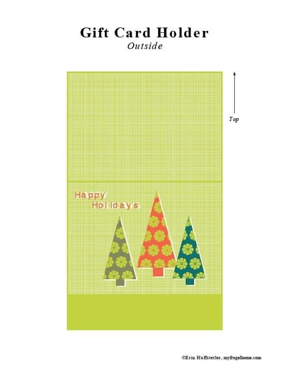 Christmas Tree Printable Gift Card Holder