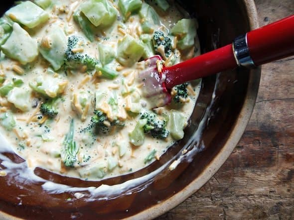 Combine Broccoli Casserole Ingredients in a Bowl