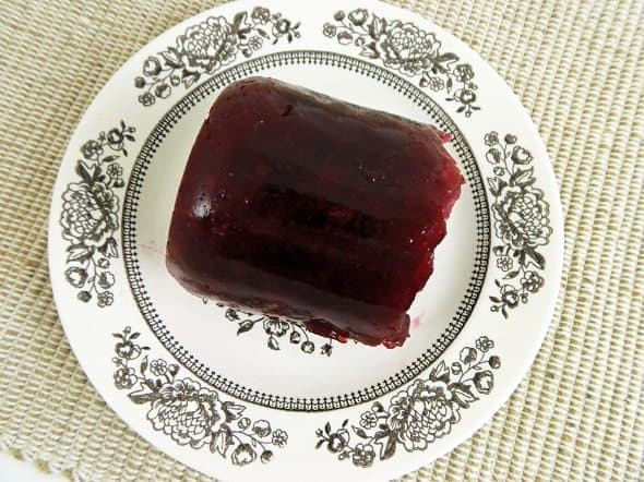 Jellied Cranberry Sauce on Serving Plate