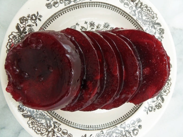 Homemade Jellied Cranberry Sauce on a Serving Plate