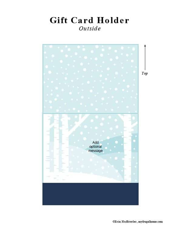 Snow Printable Gift Card Holder