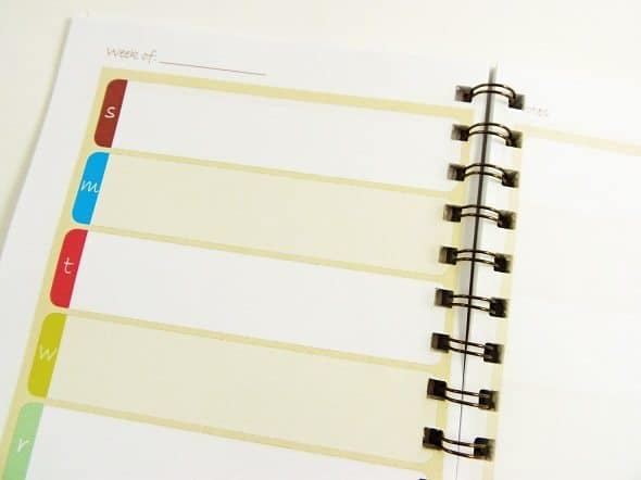 Inside of Small Planner