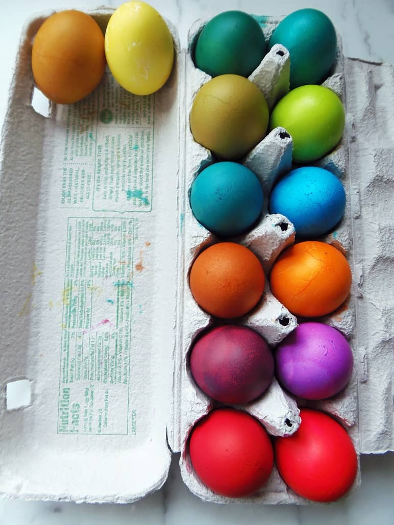 Carton of Eggs Dyed Without a Kit