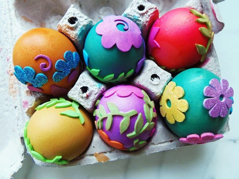 Dyed Eggs Before Stickers Were Removed