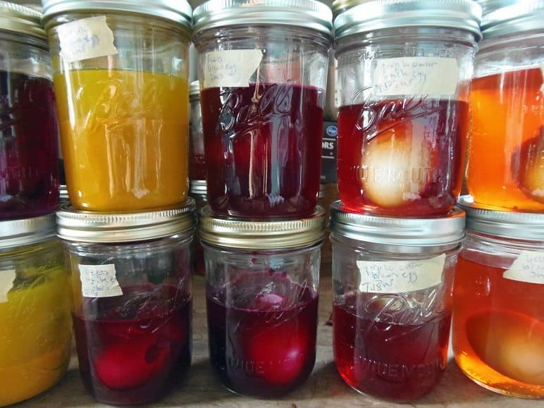Eggs Soaking in Natural Easter Egg Dyes