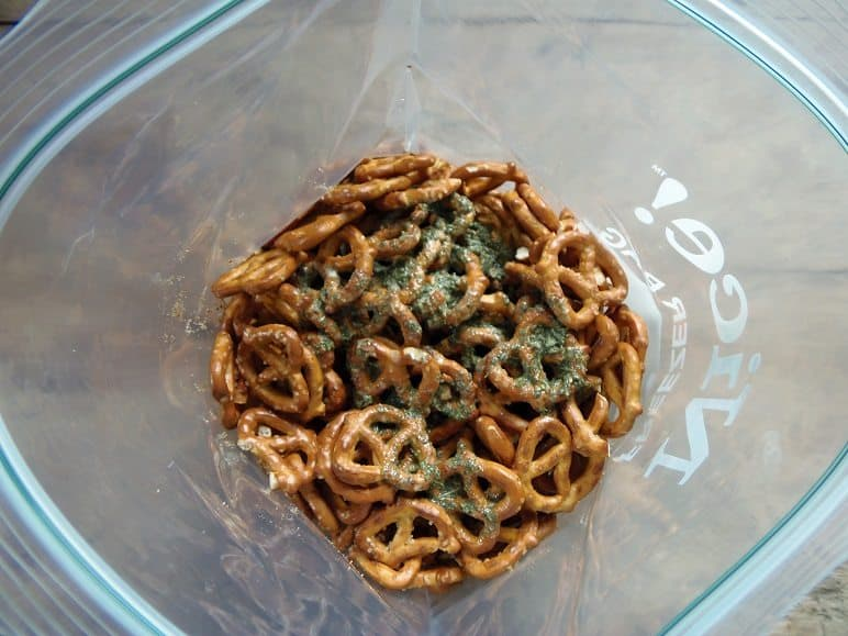 Combine Ranch Mixture and Pretzels