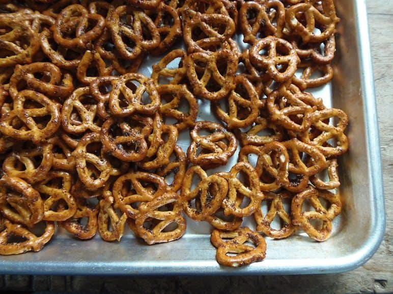 Taco Pretzels Drying on a Cookie Sheet