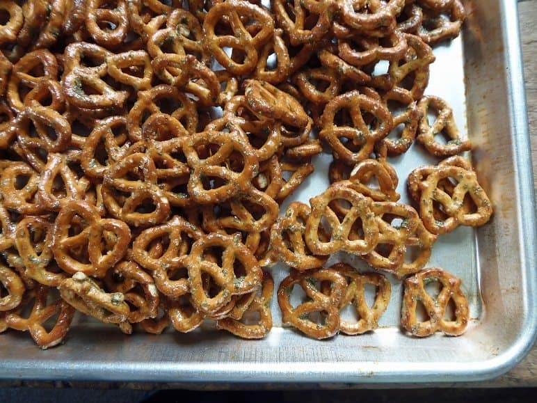Spread Ranch Pretzels Out on a Cookie Sheet to Dry