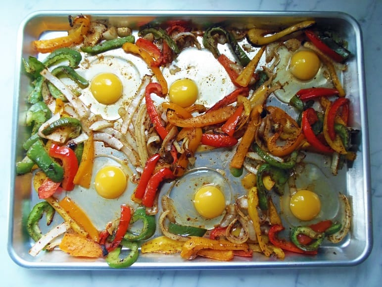 Eggs Cracked on Sheet Pan