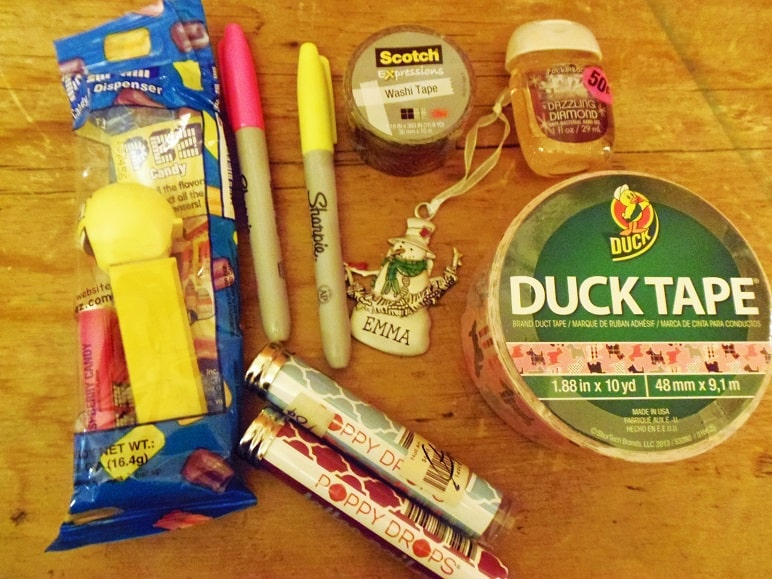 Pez, Nail Stickers, Duck Tape, Washi Tape, Sharpies, Ornament