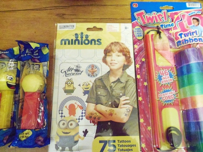 Pez Dispensers, Minion Temp Tatoos and a Twirl Ribbon