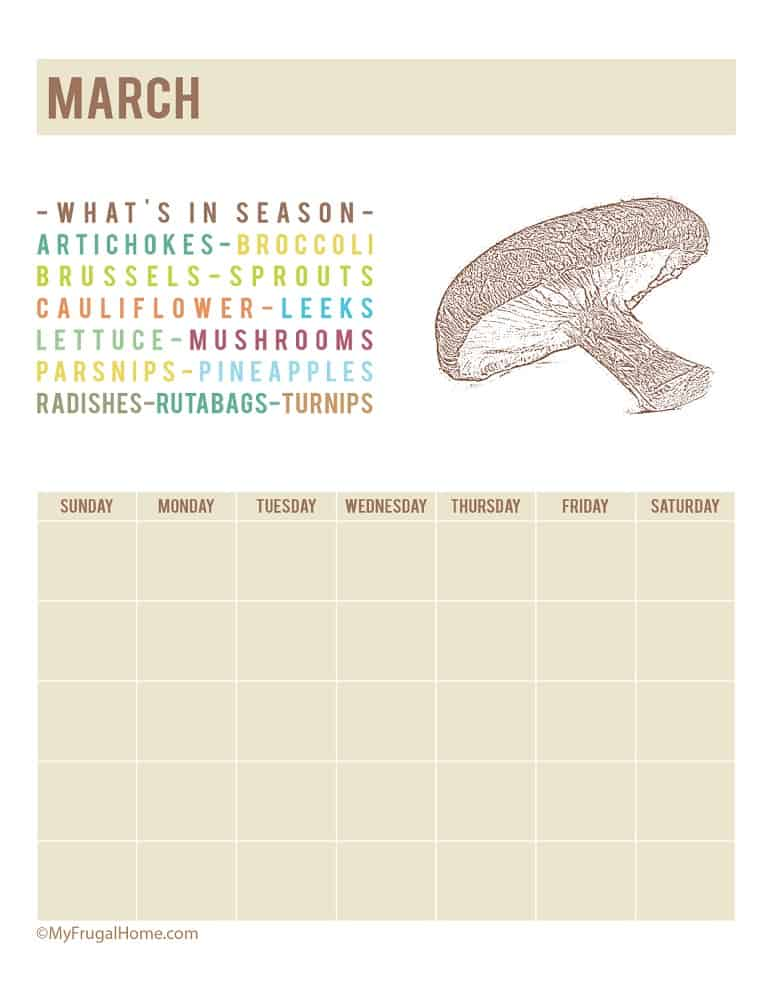 Printable Calendar Listing What's in Season in March