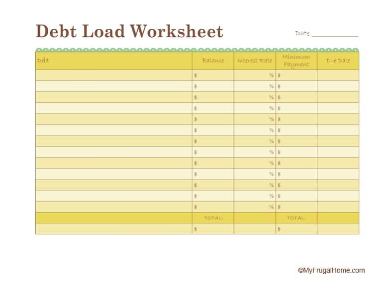 picture about Debt Worksheet Printable titled Compute Your Financial debt Stress Worksheet