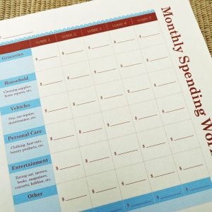 Printable Monthly Spending Worksheet