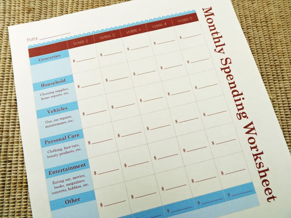 Free Monthly Spending Worksheet